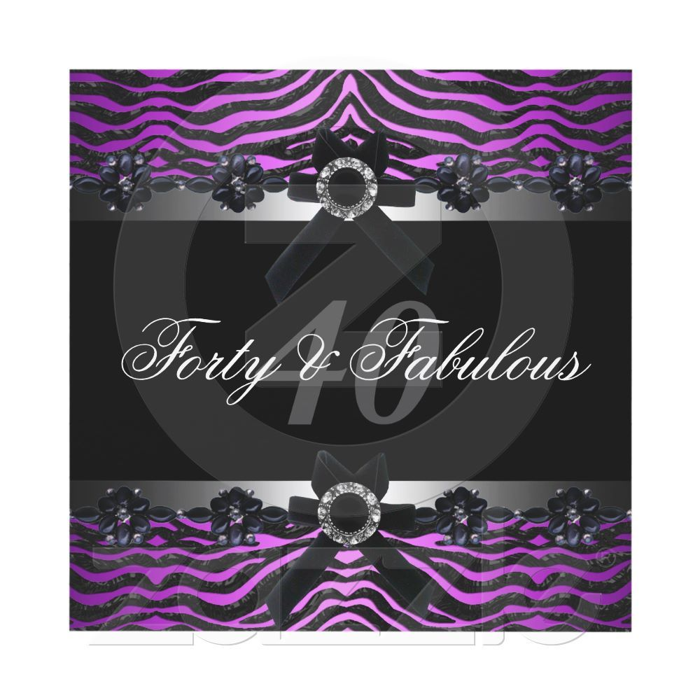 40th Birthday Party Silver Purple Pink Black White Invitations By Zizzago