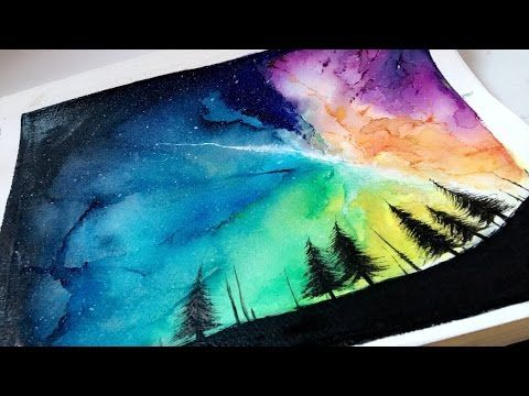 Blending Watercolors Into A Galaxy Painting Youtube Galaxie