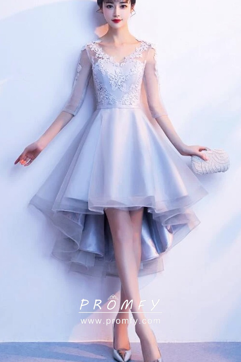 Angelic Light Blue Sleeved High Low Homecoming Gown High Low Party Dresses Backless Dress Formal Prom Dresses Short [ 1200 x 800 Pixel ]