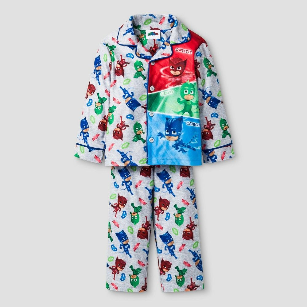 Size 3T PJ Masks Gray Flannel Coat Pajama Set
