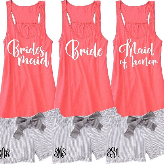 Bridal Party Pajama Set With Flowy Tank And By Beforetheidos Bridesmaid