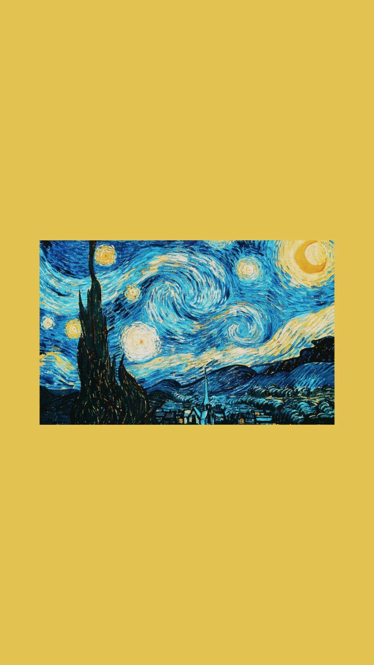 Wallpaper Van Gogh Noite Estrelada Yellow Blue Aesthetic