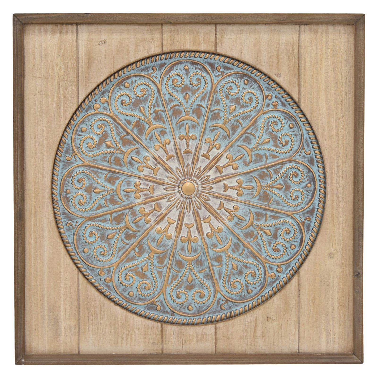 Three Hands Metal And Wood Mandala Wall Accent Blue Brown