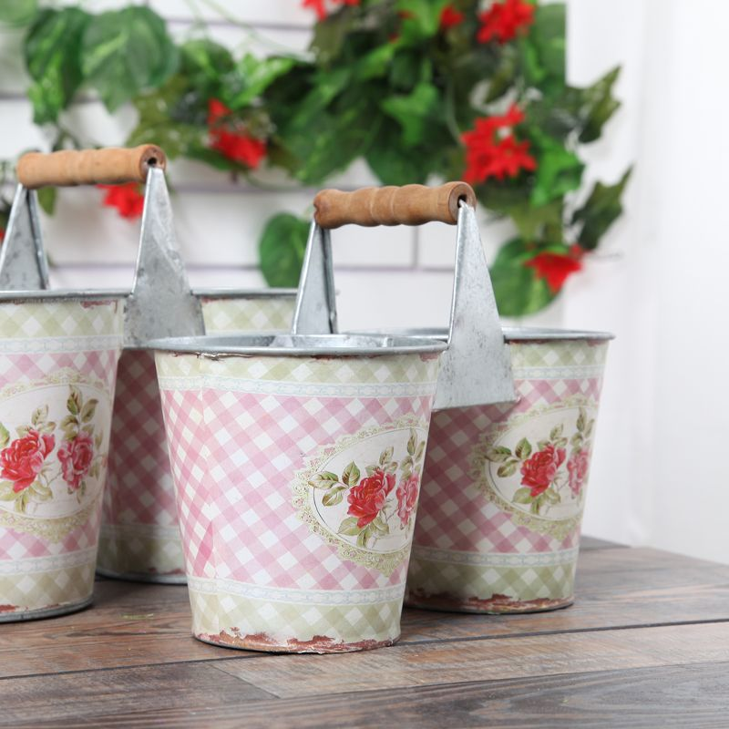 European Style Classic Flower Tub barrel stickers small broken flowers Tin Bucket Garden Supplies