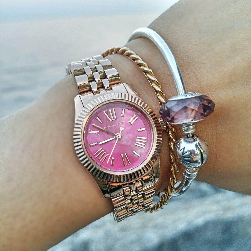 a99a46755884 Michael Kors Petite Rose Gold Lexington with a Pink Face (MK 3285)