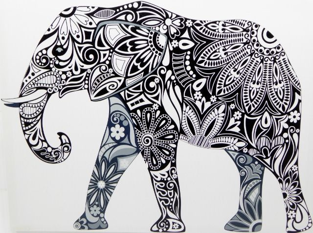 Black and White Elephant Tribal Picture Art Canvas ~Ready to Hang~80x70cm - Wall Art Road