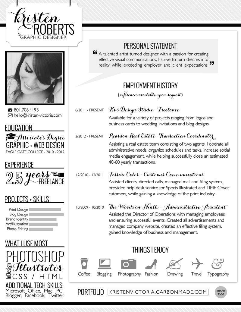 Awesome Graphic Design Resumes Via Kv's Confessions. #resume  #graphicdesigner