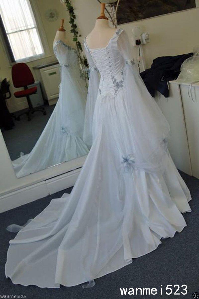 Celtic Wedding Dress Blue Medieval Bridal Gowns Corset