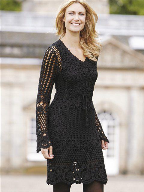 efed1466005 Платье с длинным рукавом крючком. Вязание крючком платья для женщин ...