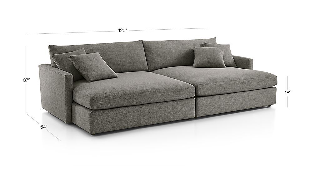 Image With Dimension For Lounge Ii 2 Piece Double Chaise Sectional