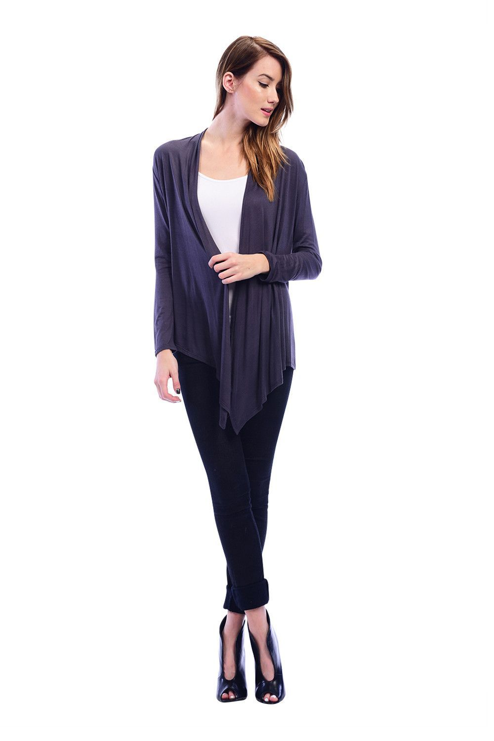 Fashion week Front drape cardigan how to wear for woman
