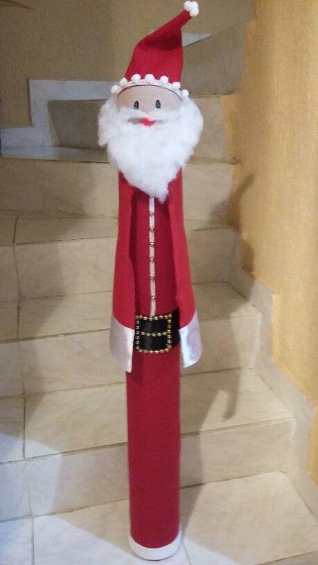 Santa En Tubo De Carton Reciclando Tubos De Carton Pinterest