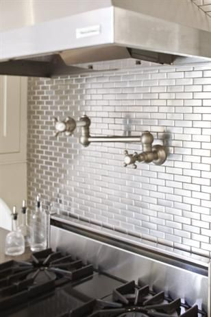 Incredible Sleek Silver Mini Subway Tile Backsplash Above Stove Few Home Interior And Landscaping Ologienasavecom