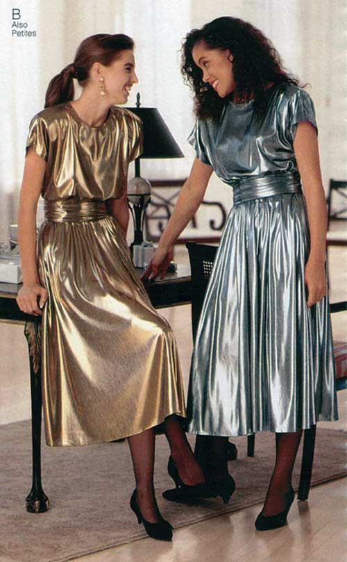 78ed229282fe Women's Silver & Gold Lame Dresses from a 1990 catalog #1990s #fashion  #vintage