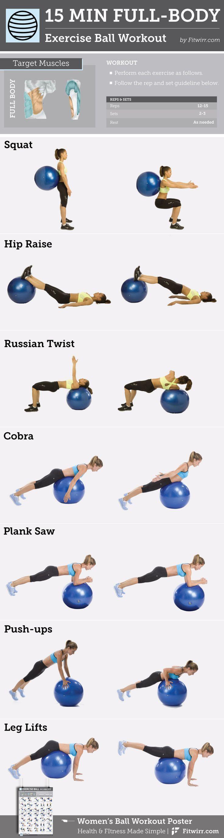15-Minuten-Ganzkörperübungsball #Workout content @ www.pinterest.com ...  #con... - Fitness - #15Min...