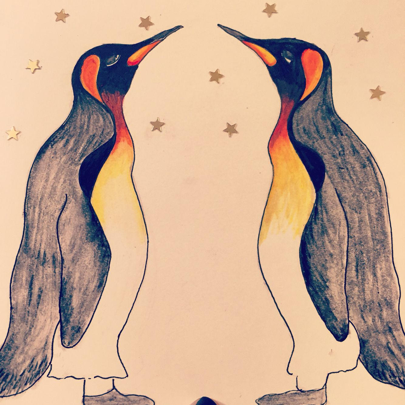 Penguin love  #penguin #christmas #cards #cute #couple #merrychristmas #design #watercolour #drawing