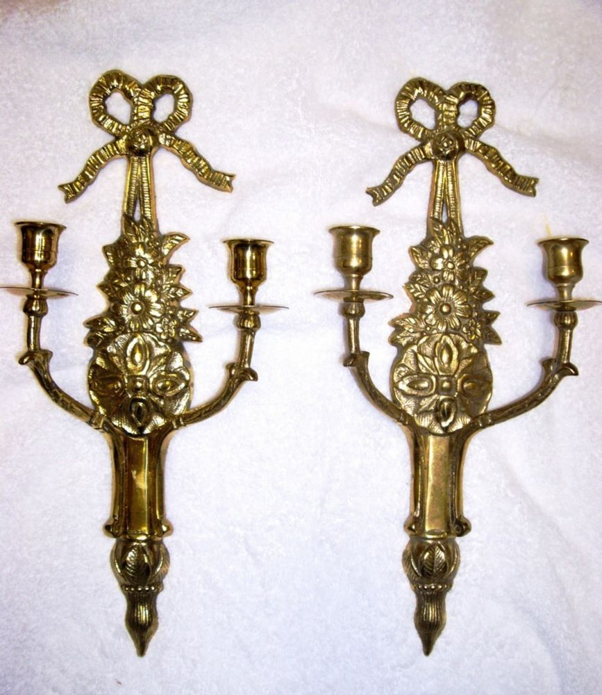 Vtg Pair Victorian French Empire Provincial Brass Wall Sconces