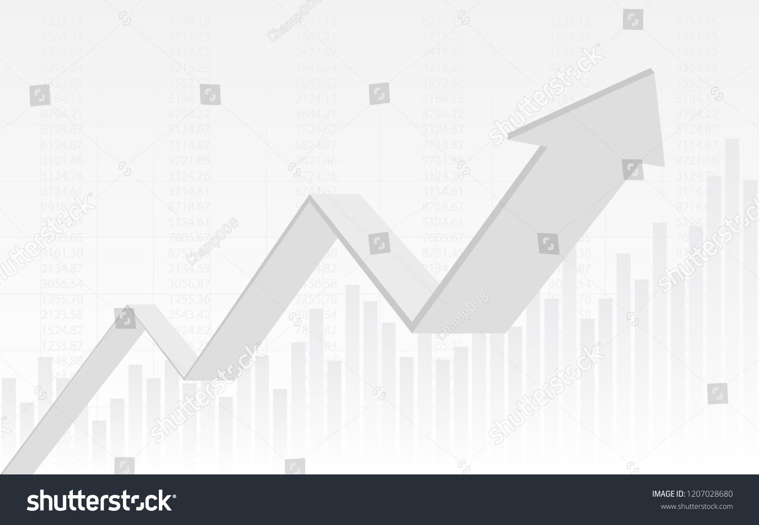 Abstract Financial Chart With 3d Uptrend Line Graph Arrow And Numbers In Stock Market On Gradient White Color Background Financial Charts Line Graphs Graphing