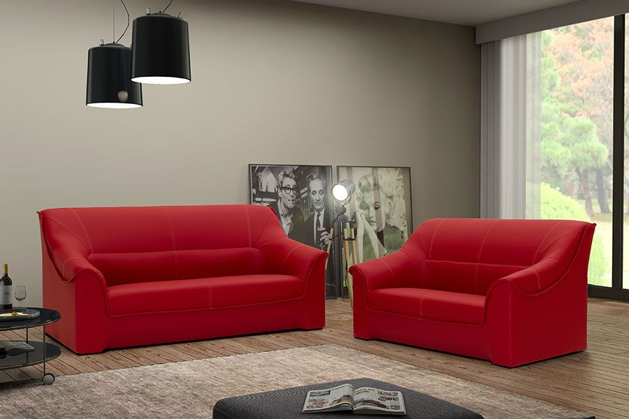 Ensemble Canapé Fixe Places Rouge En PVC PROMETHEE Ensemble - Canapé 3 places pour salon moderne