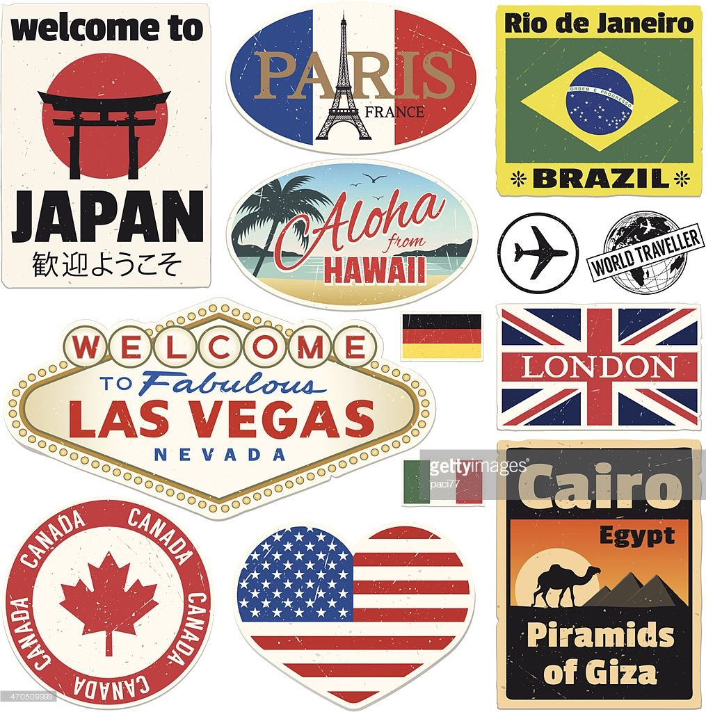 Vector Vintage Travel Stickers High Res Jpeg Included Travel Stickers Printable Travel Stickers Print Stickers