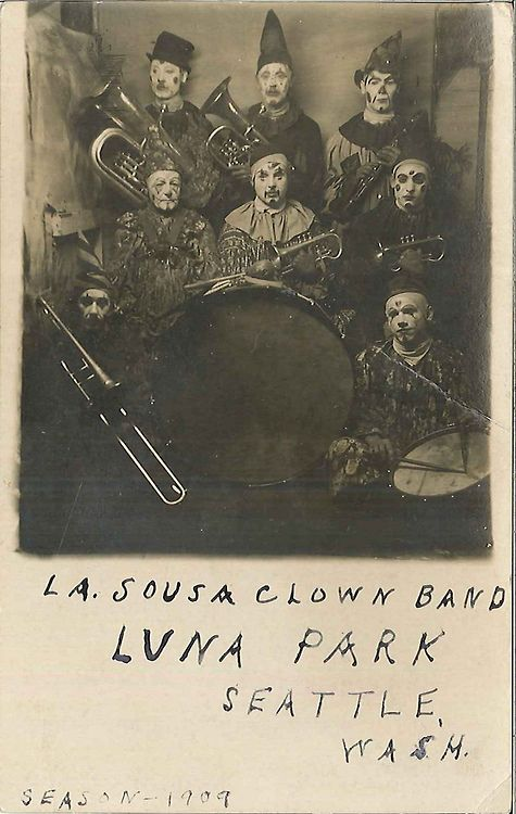 dyingforbadmusic:  La Sousa Clown Band at Luna Park, 1909 by Seattle Municipal Archives Postcard collection (Record Series 9901-01), Seattle...