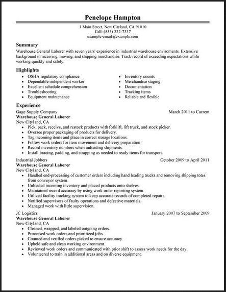 Example Of An Objective On A Resume Adorable General Labor Warehouse Resume  Httptopresumegenerallabor .