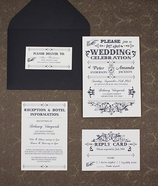 Wedding Invitations Old Fashioned: Old Fashioned Typography Wedding Set