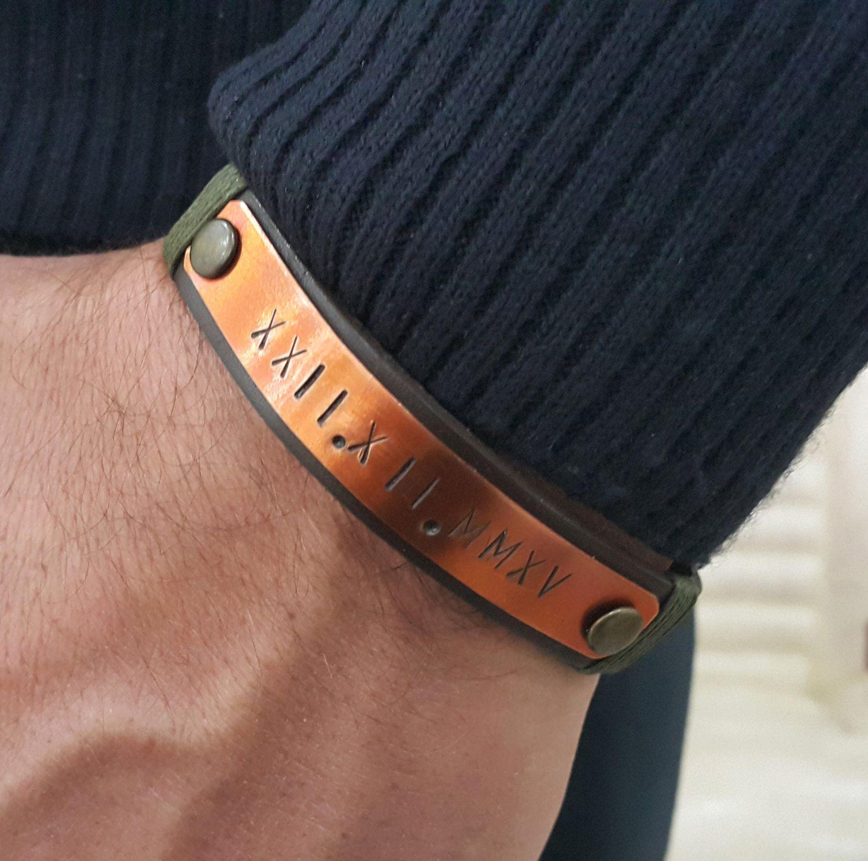 customized men/'s leather bracelet Men/'s Roman numerals bracelet,Personalized men/'s Roman numerals bracelet boyfriend father bracelet,