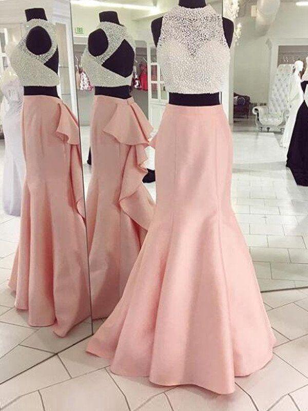 Two Piece Prom Dress, Pink Mermaid Long Prom Dress Evening Dress ...