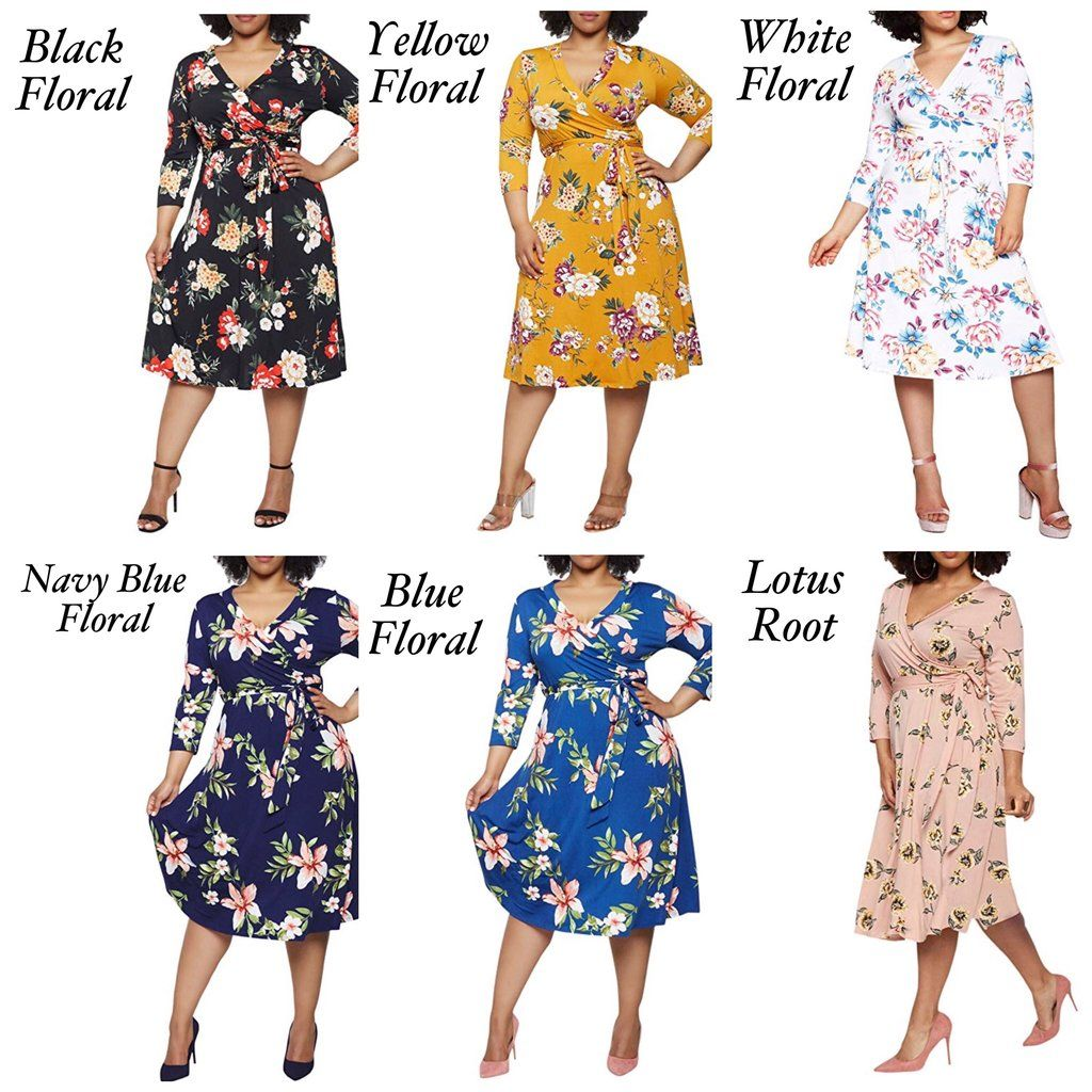 Faux Wrap Floral Dress Us Sizes 16 24 In 2021 Dresses Floral Dress Faux Wrap Dress [ 1024 x 1024 Pixel ]
