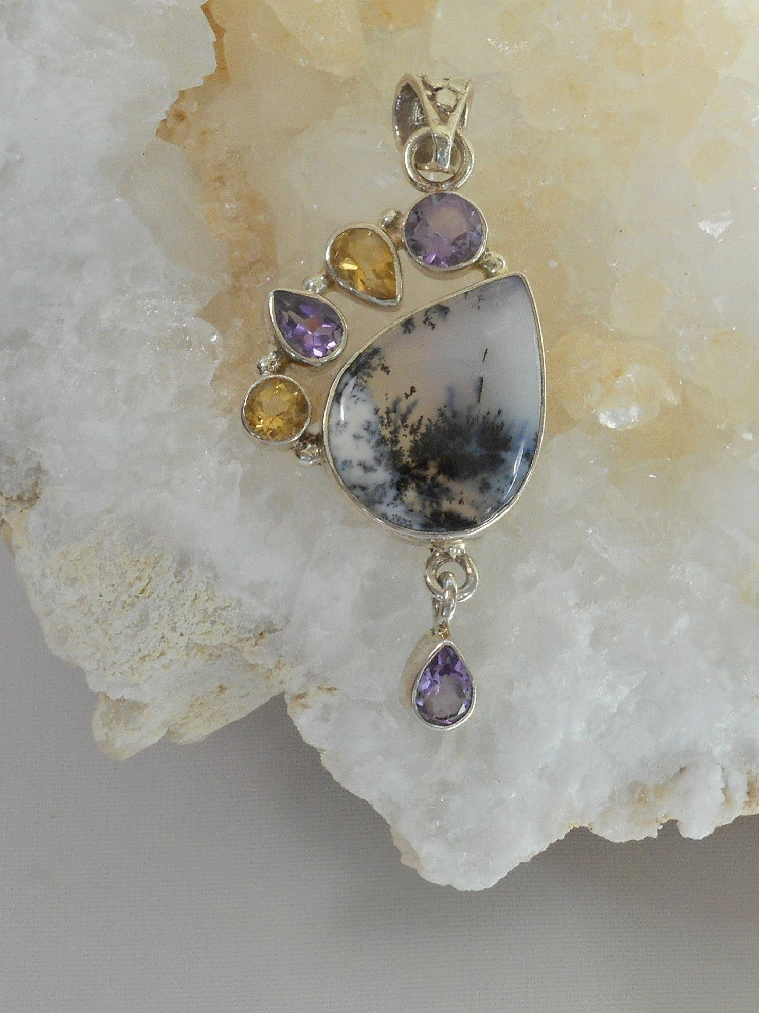 Dendritic Opal Teardrop Pendant with Amethyst and Citrine