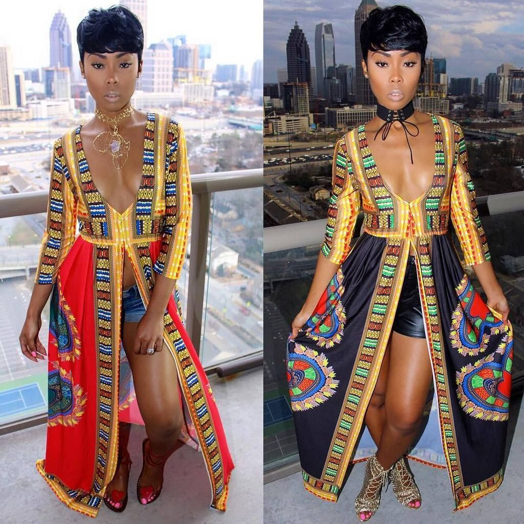 8ac1b52902b5 Sexy African Dresses Women Print Dashiki Dress Long Sleeve Split Long Dress  Vestido Floral V Neck 2017 Casual Dress Party Woman