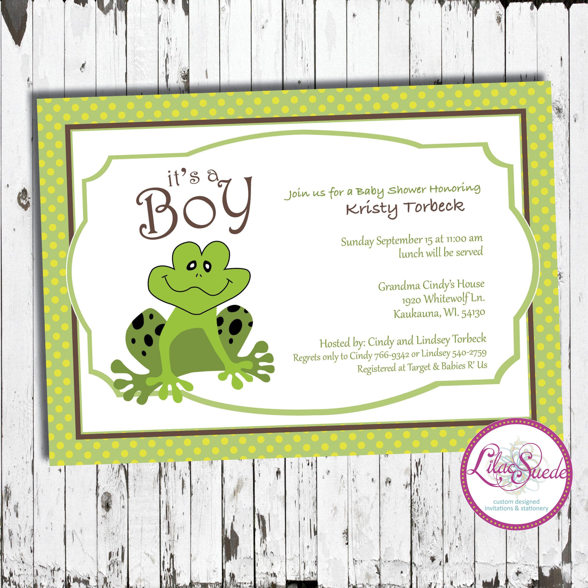 Jump for joy, its a boy! frog baby shower invitation with polka dots ...