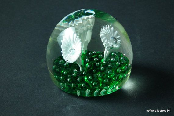 Murano Glass Paperweight 3 White Flowers in Green Base