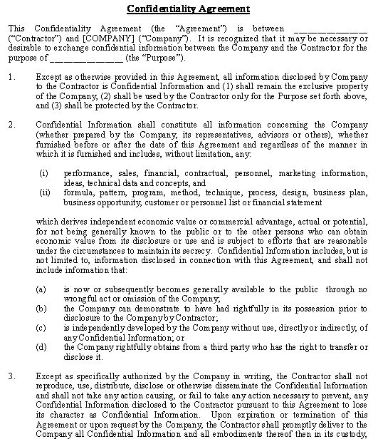 Confidentiality and Nondisclosure Agreement - General template - lease contract template