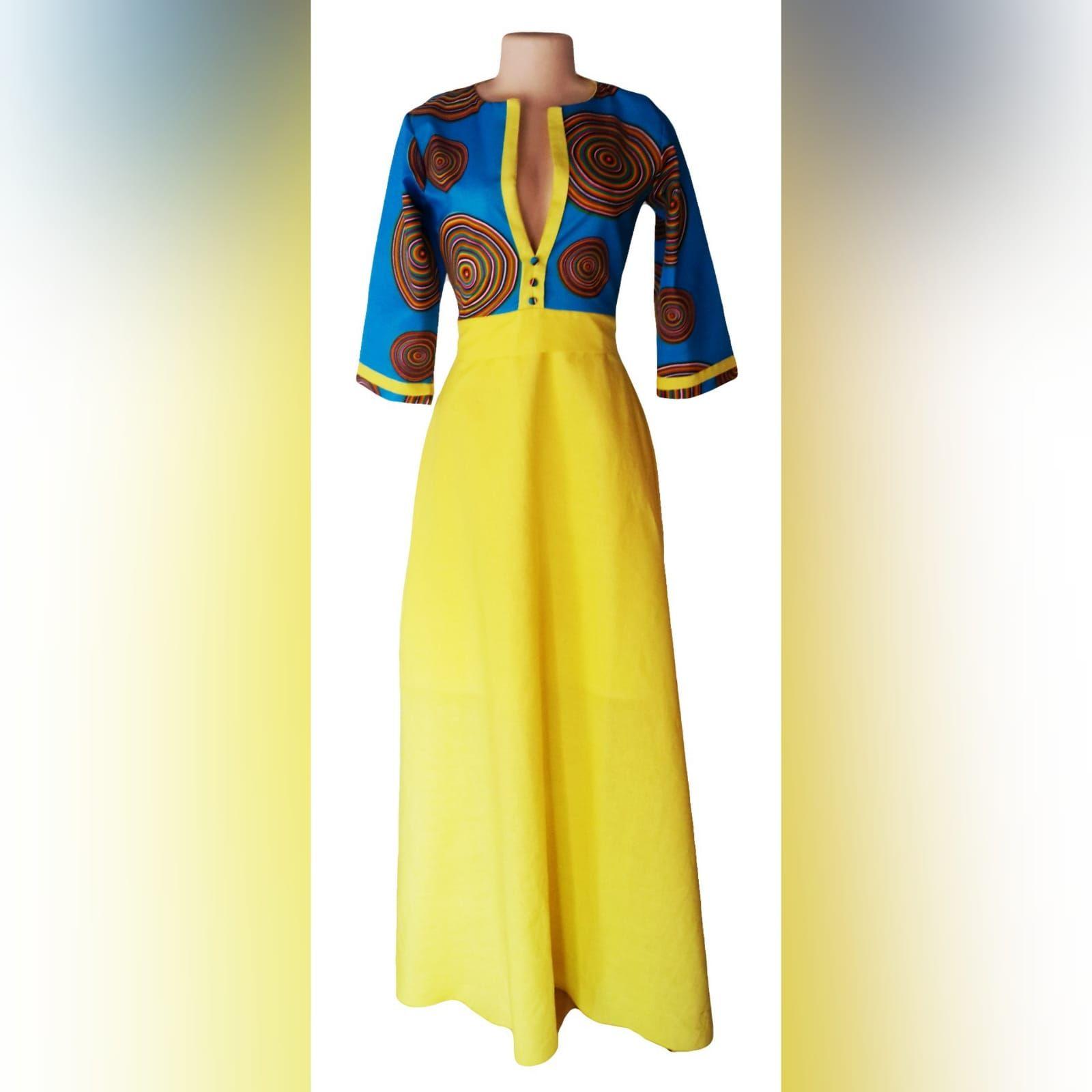 Vestido Tradicional Moderno Azul E Amarelo Traditional Dresses Traditional Outfits African Traditional Dresses [ 1600 x 1600 Pixel ]