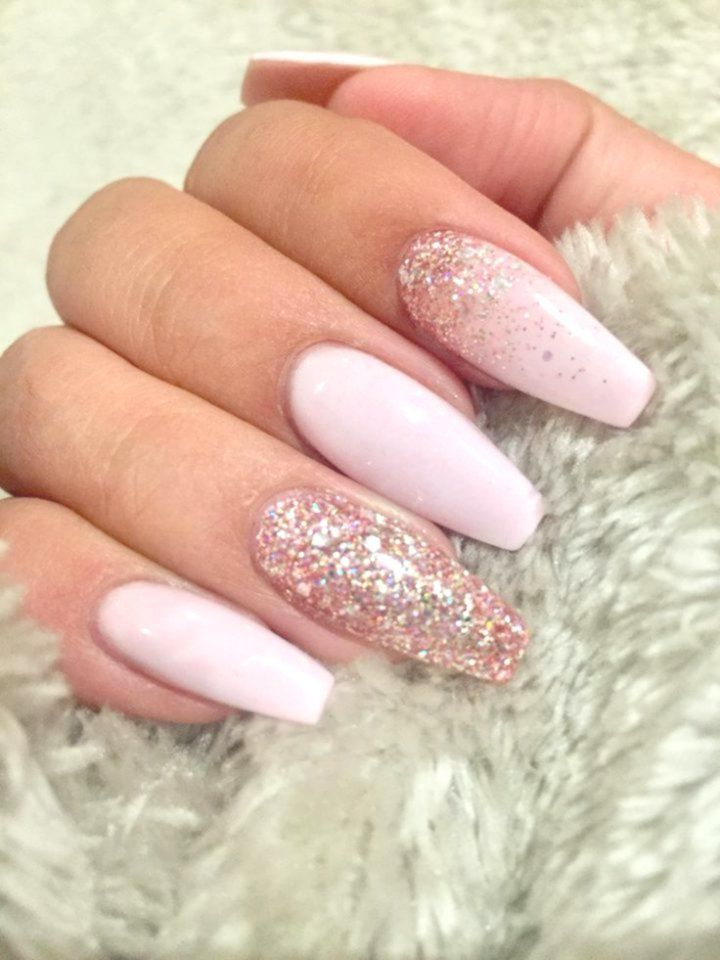 Light Pink Coffin Nails With Rose Gold Glitter Inlove Coffin Coffin Nails Rose Coffin Nails Nails Pi Pink Glitter Nails Coffin Shape Nails Squoval Nails
