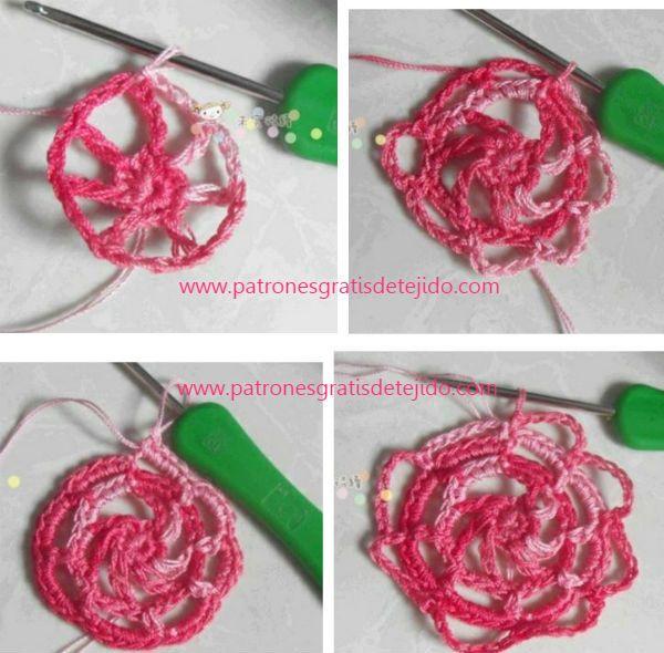 paso a paso de rosa central | chaqueta en punto musgo | Pinterest ...