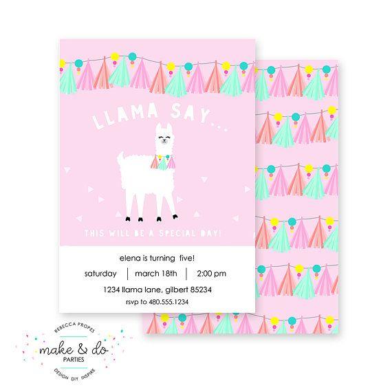 Llama Alpaca Printable Party Invitation Birthday Or Baby