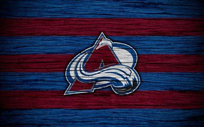 Colorado Avalanche, 4k, NHL, hockey club, Western Conference, USA, logo, wooden texture, hockey, Central Division