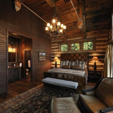 Super sexy log cabin hunting lodge bedroom pinterest for Hunting cabin bedroom