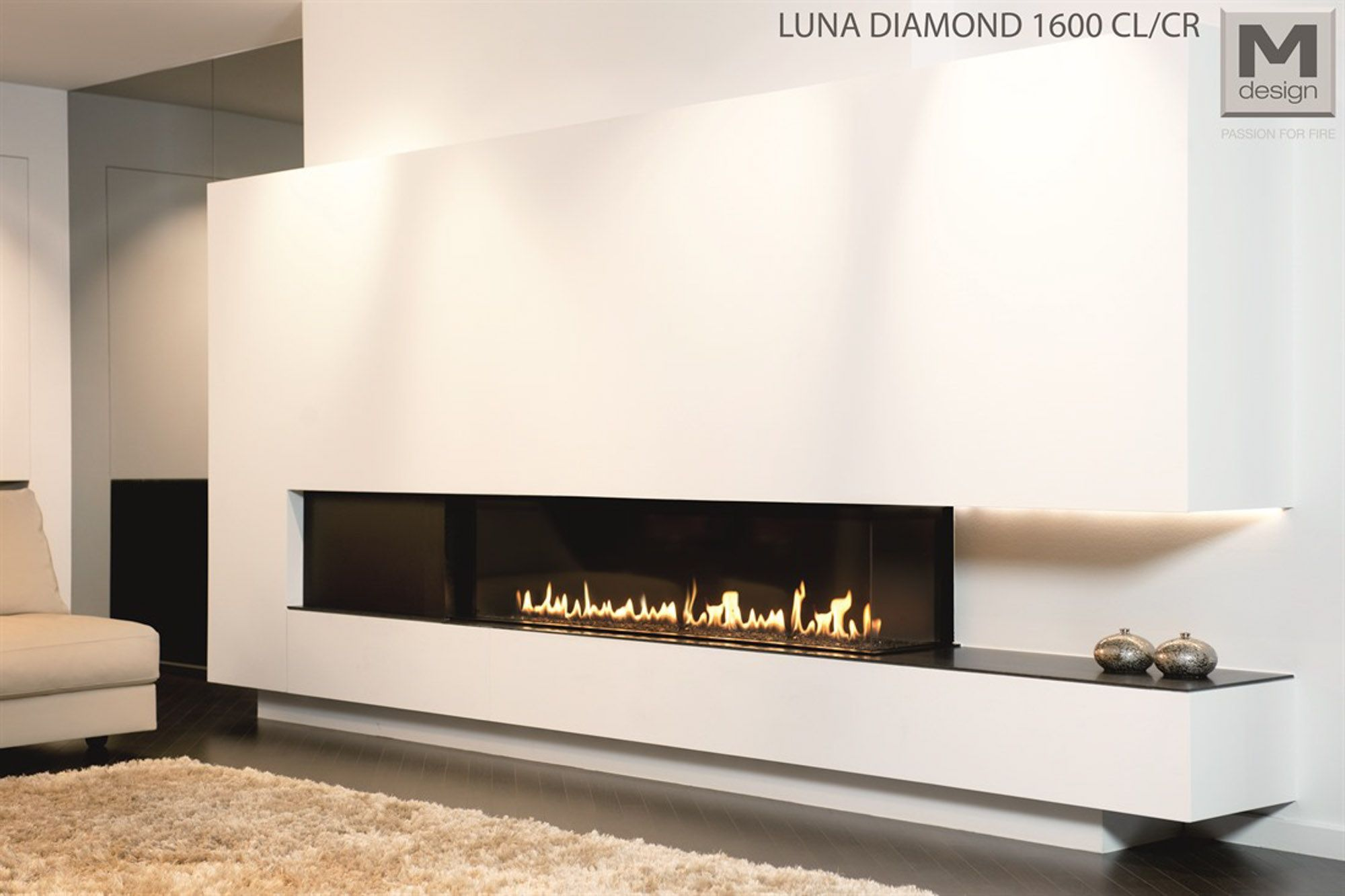 wood burning fireplaces visually extended the space for the decorationburning