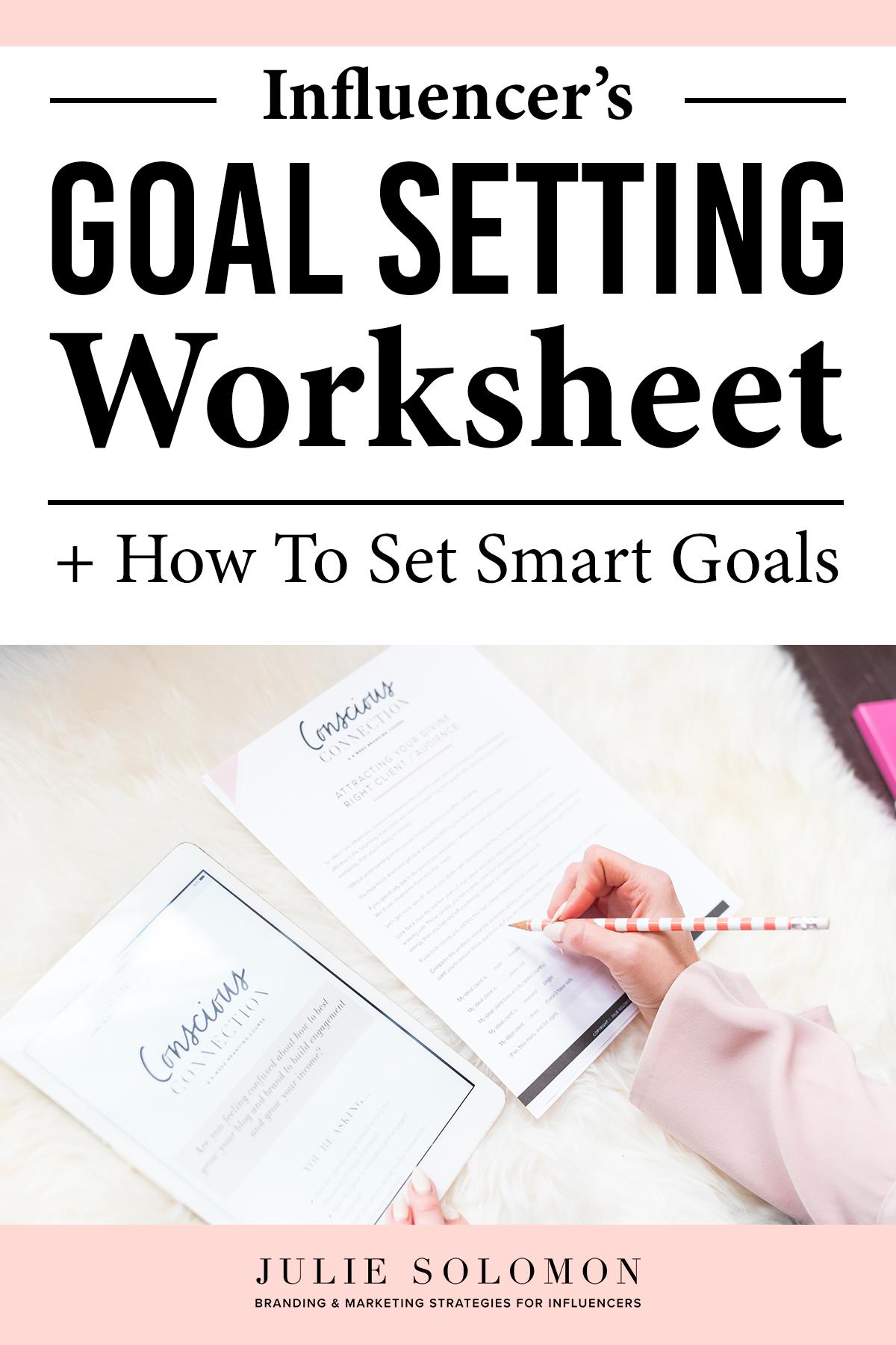 Influencer S Goal Setting Worksheet For Summer Success