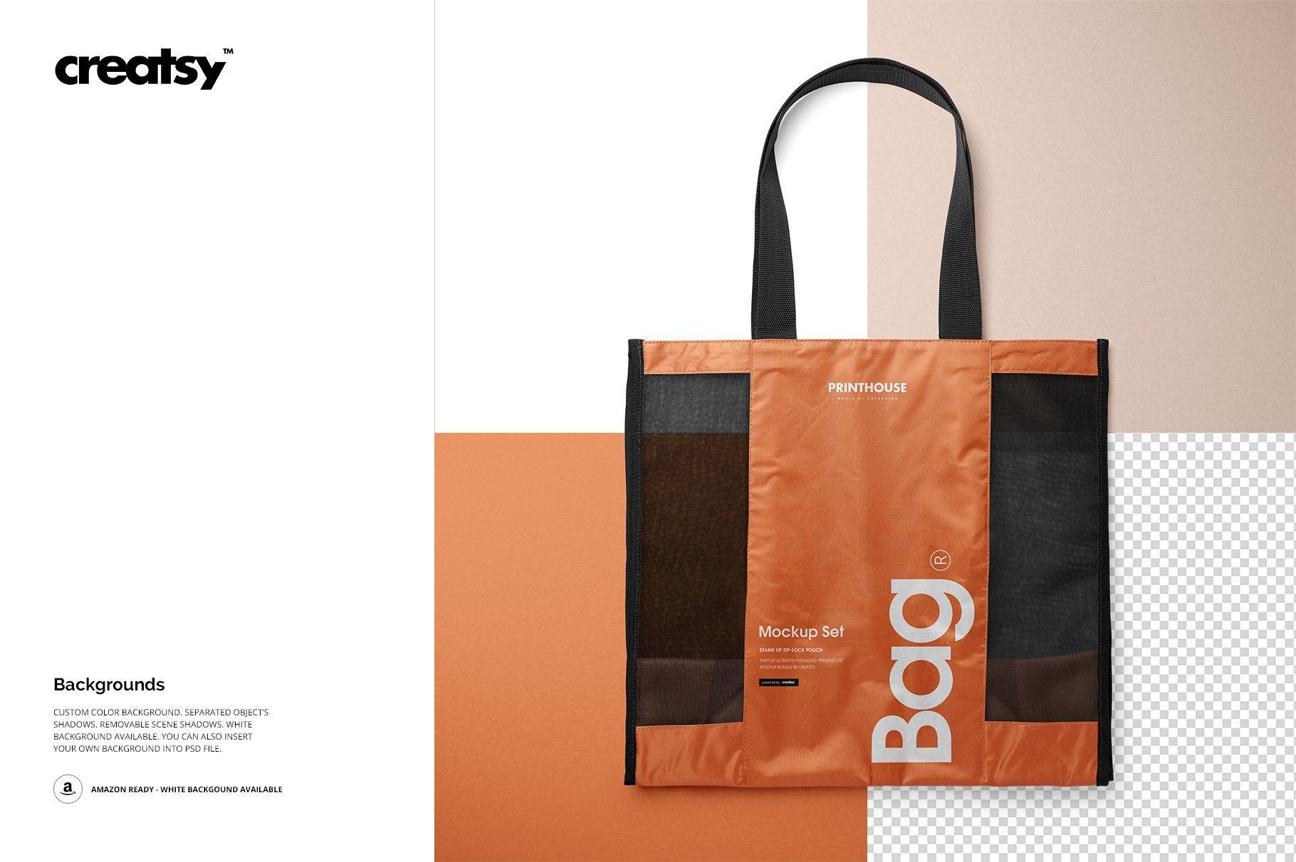 Download Mesh Shopping Tote Bag Mockup Set Shopping Tote Bag Bag Mockup Shopping Tote