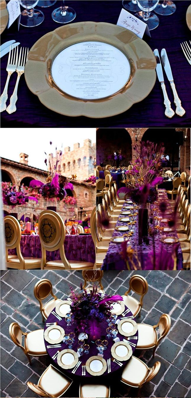 Coral and Andrew's celebration dinner: Stunning Purple + Gold Decor by Damion Hamilton for Sasha Souza Events