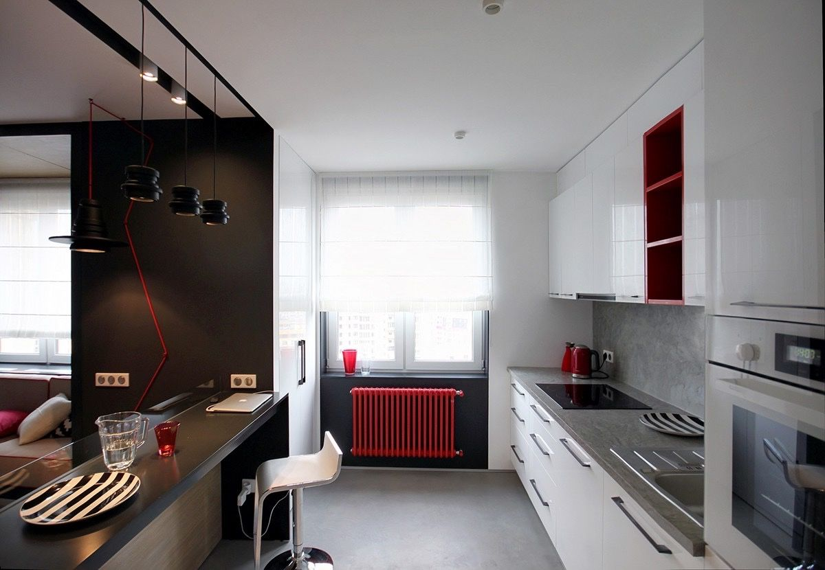 Red and Blue: Two Colorful Apartments Under 75 Square Meters