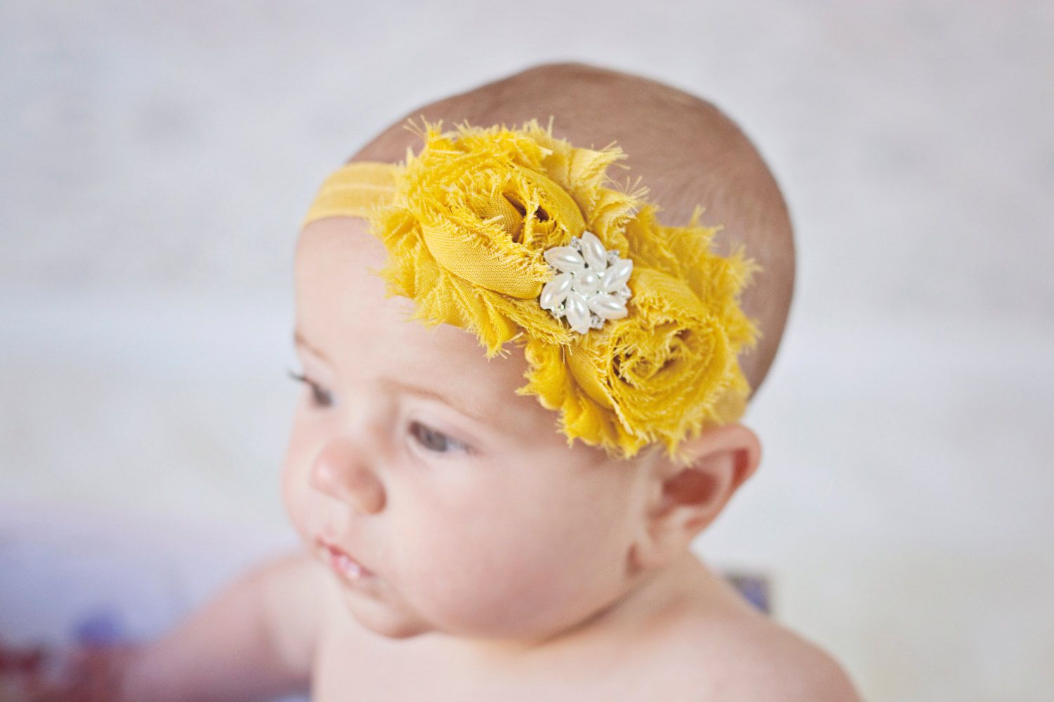 Mustard Yellow Headband Shabby Chic Vintage By Babybloomzboutique