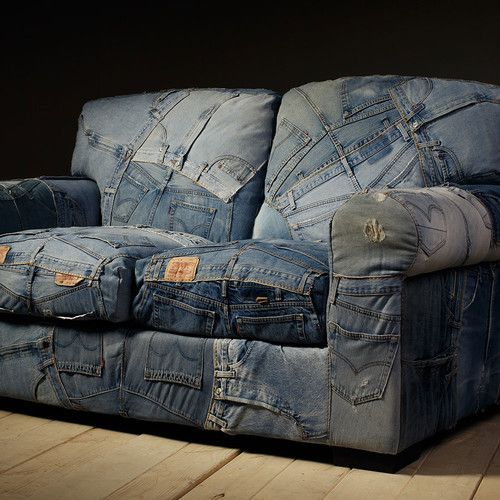 Milan Direct Denim 2 Seater Sofa Upcycle Alive In Style