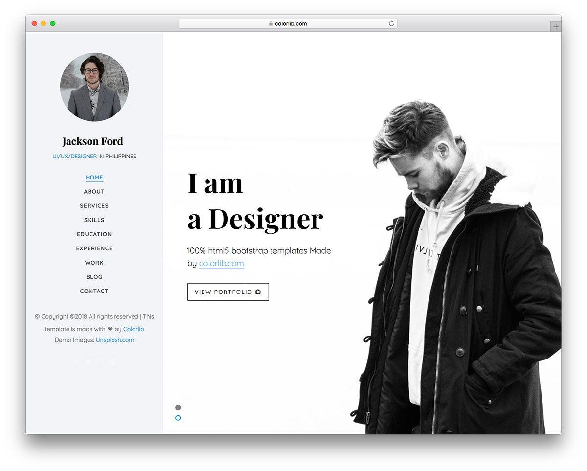 Jackson Free Personal Portfolio Website Template Diseno Web