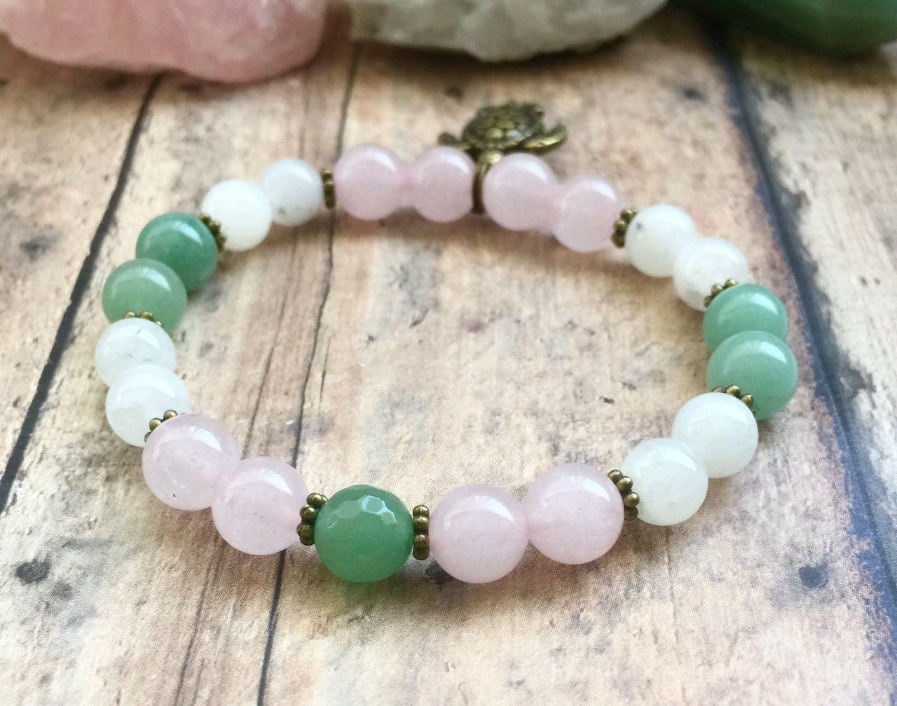 Fertility Bracelet Moonstone Rose Quartz Aventurine Turtle Symbolism